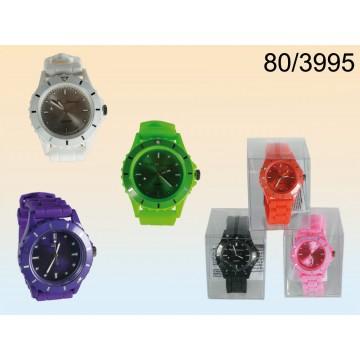 orologio in silicone colours pile incluse in confezione pvc display pezzi 12