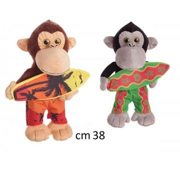 peluche scimmia con surf cm 38