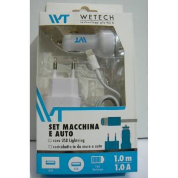 Set carica batteria per cellulare casa e auto compatibili i-phone 5-6 - ipad
