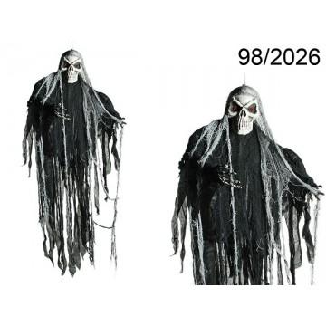 Personaggio Halloween, Teschio, con 2 LED (pile incl.) ca. 153 x 108 cm, da appendere, 120/PALEAN 4029811325979
