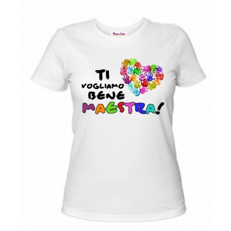 t-shirt bianca donna scritta ti vogliamo bene maestra scuola