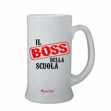 Boccale bicchiere birra 0,5 scritta il boss della scuola regalo scuola alunno