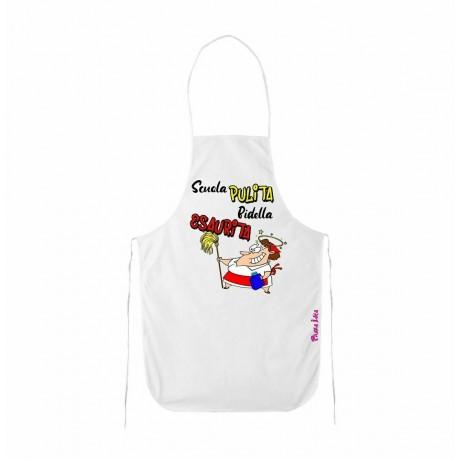 grembiule bianco cucina scritta scuola pulita bidella esaurita regalo