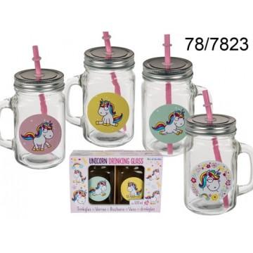 Bicchiere, Unicorno comic, vaso per conserve, con manico, coperchio in metallo