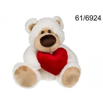 peluche orso bianco con cuore rosso