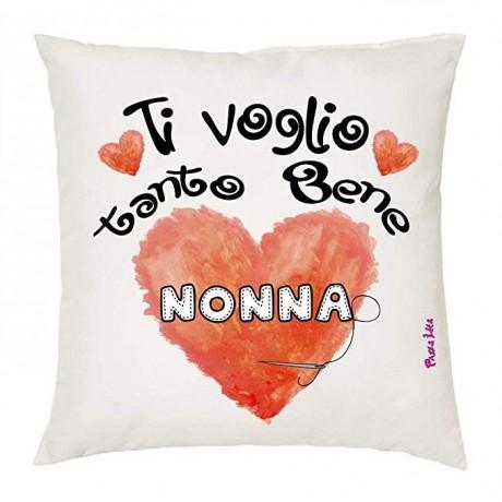 Cuscino ti voglio tanto bene nonna in poliestere bianco  40x40 cm