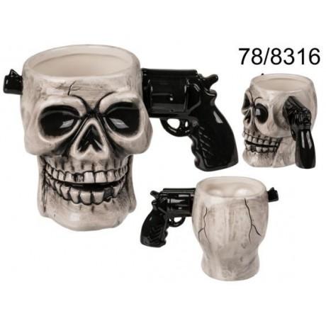 Tazza,teschio con manico di pistola, ca. 17 x 11 cm, in ceramica,