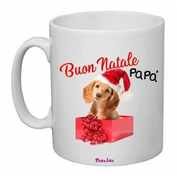 tazza 8 x 10 scritta buon natale papa' regalo natale disegno cane
