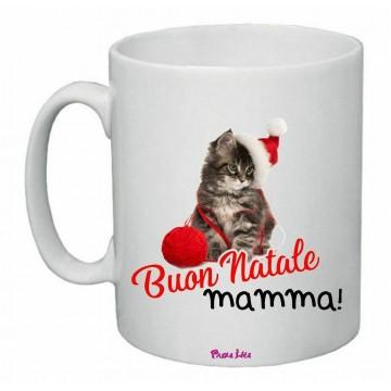 tazza 8 x 10 scritta buon natale mamma regalo natale disegno gatto