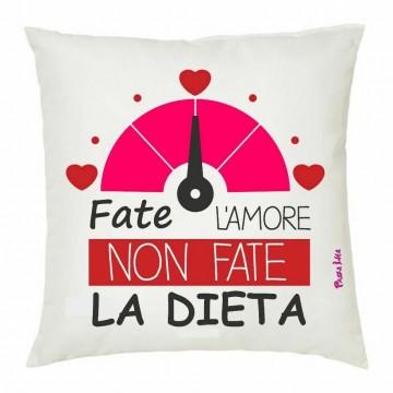 cuscino 40x40 scritta fate l'amore non fate la dieta san valentino regalo amore