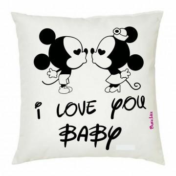 cuscino 40x40 scritta i love you baby san valentino regalo amore topolino
