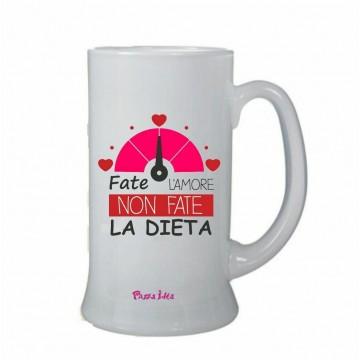 bicchiere birra scritta fate l'amore non fate la dieta san valentino regalo