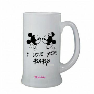 bicchiere birra scritta i love you baby san valentino regalo amore topolino