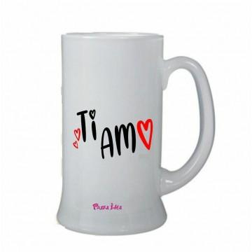 bicchiere birra vetro boccale scritta ti amo san valentino regalo amore