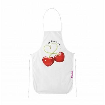 grembiule cucina bianco scritta i love you ciliege san valentino regalo amore