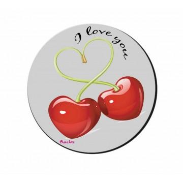 mouse pad pc rotondo scritta i love you ciliege san valentino amore regalo