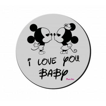 mouse pad pc rotondo scritta i love you baby topolino san valentino regalo