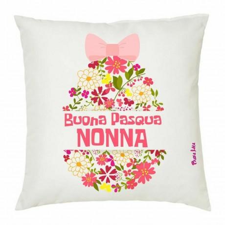 cuscino 40x40 cm con scritta buona pasqua nonna regalo per pasqua uovo rosa