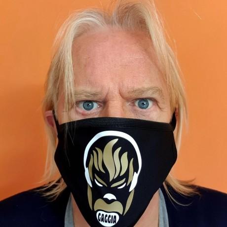 Copri mascherina moda GAGGIA DJ con stampa oro e bianca