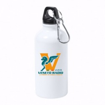borraccia bottiglia alluminio 500 ml scritta logo veneto radio gadget