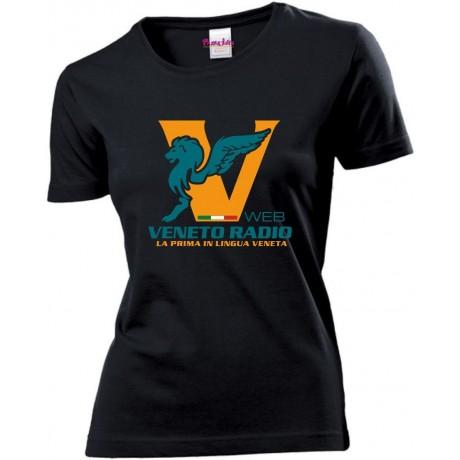 t-shirt donna nera scritta logo veneto radio gadget