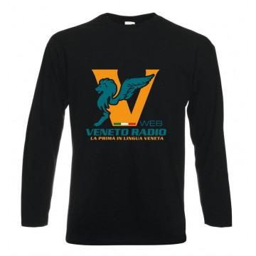 t-shirt maglia nera manica lunga scritta logo veneto radio gadget