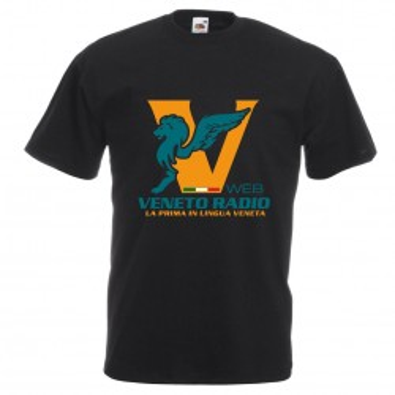 t-shirt nera scritta logo veneto radio gadget