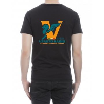 t-shirt nera scritta sul retro logo veneto radio gadget