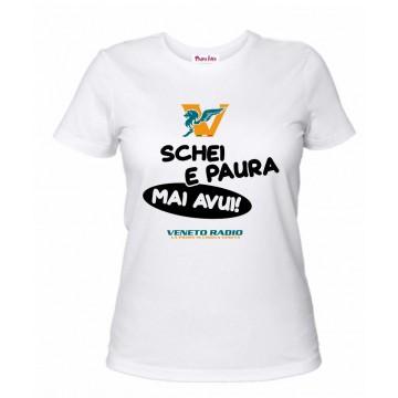 t-shirt bianca donna scritta veneto radio schei e paura mai avui