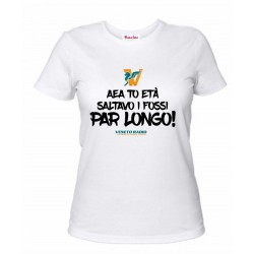 t-shirt bianca donna scritta veneto radio aea to età saltavo i fossi par longo
