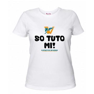 t-shirt bianca donna scritta veneto radio so tuto mi