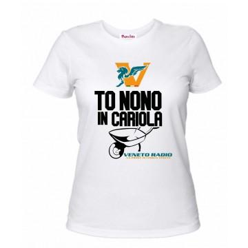 t-shirt bianca donna scritta veneto radio to nono in cariola