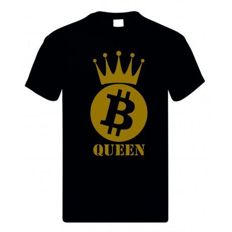 T-shirt uomo donna in cotone con stampa oro bitcoin quuen