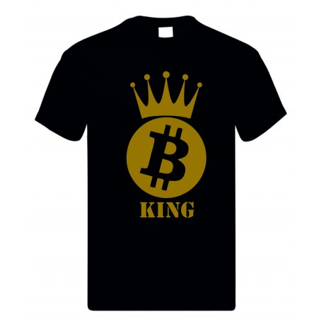 T-shirt uomo donna in cotone con stampa bitcoin king