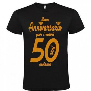 T-shirt maglietta in cotone con stampa oro buon anniversario 50 anni