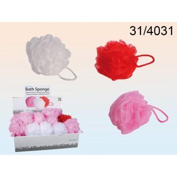 Spugna da bagno in nylon, Love,  ca. 12 cm, 3 colori ass. 40 pz. per  display