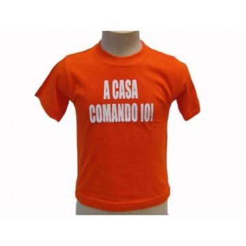 """t-shirt baby frase divertente """"a casa comando io"""""""