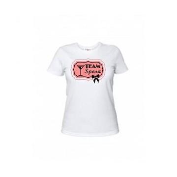 t-shirt bianca donna con scritta TEAM SPOSA nubilato festa matrimonio