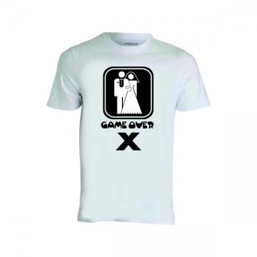 t-shirt bianca uomo donna scritta game over sposo sposa addio celibato nubilato