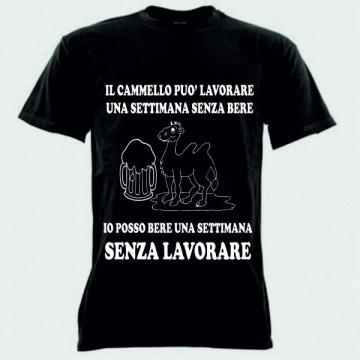 "t-shirt bm/c frase spiritosa ""il cammello può..""TAGLIA S-M-L-XL-XXL"