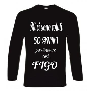 t-shirt cotone manica lunga  scritta 50  anni cosi figo
