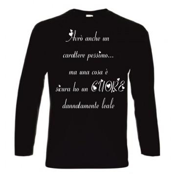 t-shirt cotone manica lunga con scritta carattere pessimo