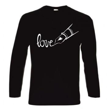 t-shirt cotone manica lunga con scritta love